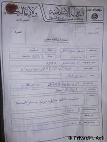 Syrien Masoud Aqil in IS-Haft - Formular (Privat/M. Aqil)