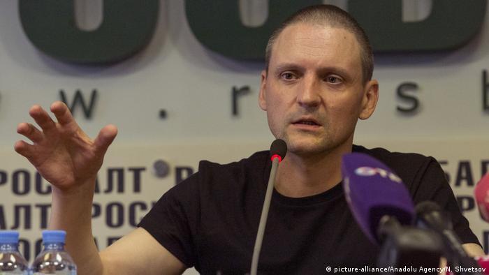 Сергей Удальцов на пресс-конференции в Москве 10 августа