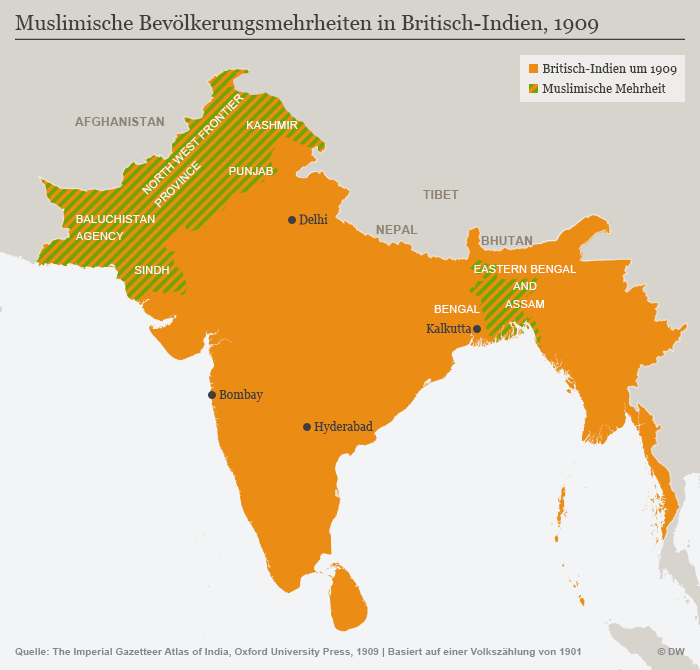 Peta India sebelum partisi. Kawasan yang ditandai dengan warna hijau merupakan kantung kaum muslim yang kini terpecah menjadi Pakistan dan Bangladesh. Kelompok Hindu nasionalis meyakini ideologi Hindutva yang ingin mendirikan sebuah negara Hindu. Namun ideologi tersebut bertolak belakang dengan gagasan nasionalisme pendiri bangsa seperti Mahatma Gandhi.