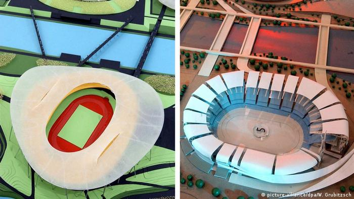 View from above of two models of Olympic sports facilities proposed for Leipzig (Photo: picture-alliance/dpa/W. Grubitzsch)