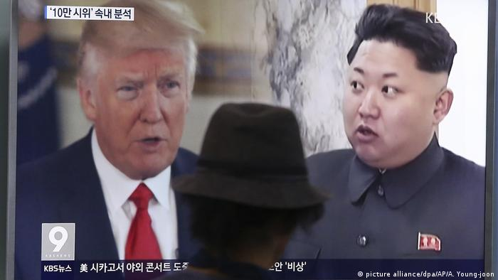 Seoul Donald Trump and Kim Jong Un on a screen (picture alliance/dpa/AP/A. Young-joon)