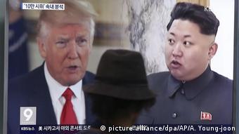 Seoul Donald Trump e Kim Jong Un auf einem Screen (imagem aliança / dpa / AP / A. Young-joon)