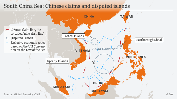 A graphic titled South China Sea: Chinese claims and disputed islands