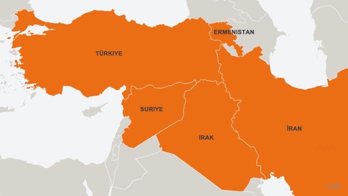Karte Türkei, Irak, Iran, Armenien, Syrien TUR