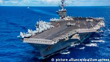 June 13, 2017 - Uss Carl Vinson, United States of America - The U.S. Navy Nimitz-class aircraft carrier USS Carl Vinson escorted by the Ticonderoga-class guided-missile cruiser USS Lake Champlain during operations June 12, 2017 in the Pacific Ocean  
