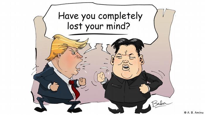 Карикатура на Дональда Трампа та Кім Чен Ина