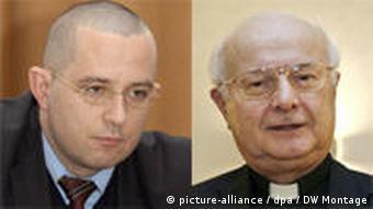 Die Kombo zeigt den Vorsitzenden der Deutschen Bischofskonferenz, Zollitsch (rechts), und den Generalsekretär des Zentralrats der Juden, Kramer (Quelle: dpa)