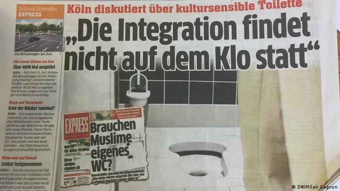 Front-page debate on the Cologne community center's new toilet (DW/Milan Gagnon)