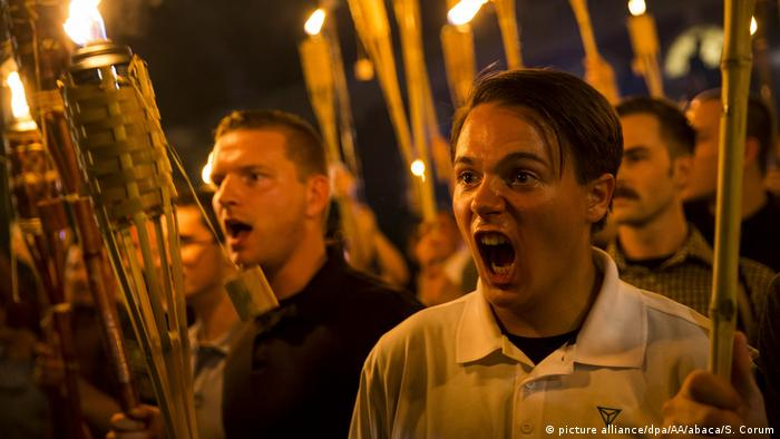 White supremacists marching in Charlottesville in