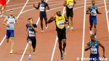Athletics - World Athletics Championships - Men's 400 Metres Relay Final - London Stadium, London, Britain – August 12, 2017. Usain Bolt of Jamaica appears injured during the final. REUTERS/John Sibley