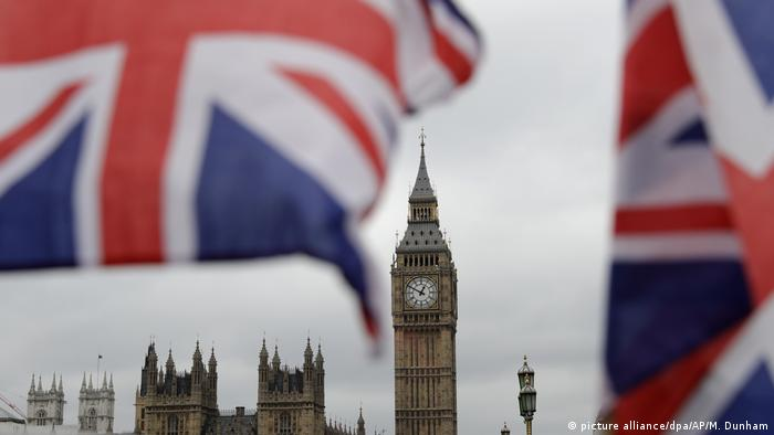 British flags in front of the now-silent Big Ben