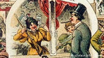 People crowd around stands and attractions in this colorful postcard from 1896 depicting Oktoberfest