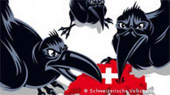 The SVP's poster with three black crows picking at a red map of Switzerland