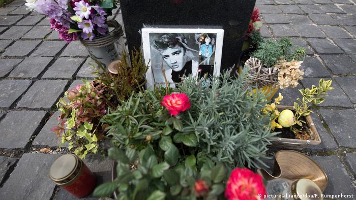 A shrine of flowers and pictures at the Elvis Presley memorial in Bad Nauheim