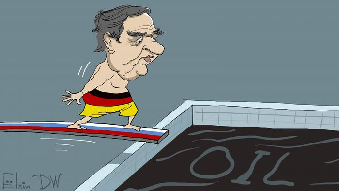 Caricature showing former German Chancellor diving into a pool of oil