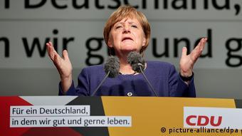 Η Άνγκελα Μέρκελ σε προεκλογική εμφάνιση το 2017