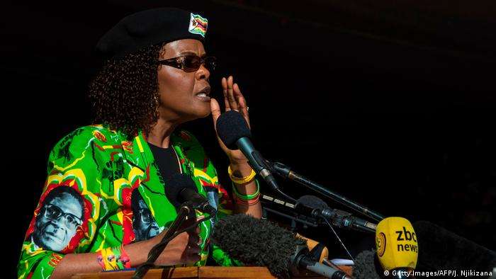 Zimbabwean first lady Grace Mugabe speakig to a crowd of supporters