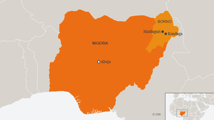 A map showing the location of Konduga in Nigeria