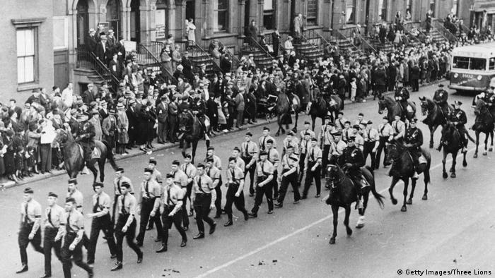Members of the German-American Bund parading through the streets of New York City