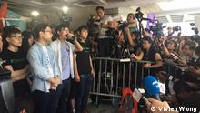 The three prominent student leaders called for the support and insistence of HK people on fighting democracy and don't give up hope before verdict. Date : 11th August