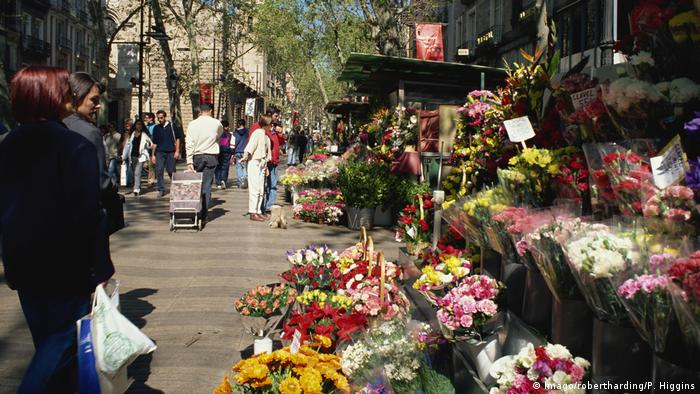 Archive photo of flower stalls along Las Ramblas