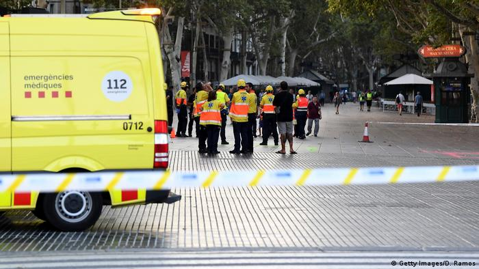 Paramedics at the scene of a terrorist attack in Las Ramblas