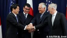 Gemeinsam gegen Nordkorea: Itsunori Onodera, Taro Kono, Rex Tillerson und James Mattis (v.l.n.r.)
