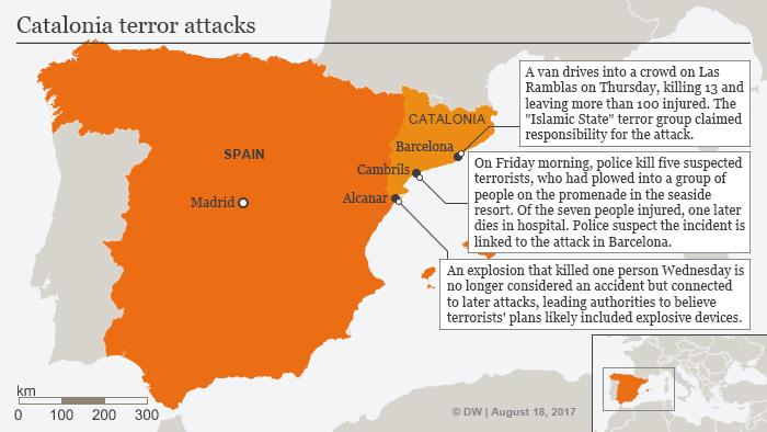 Map of Spain showing the Catalonia terror attacks