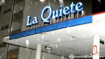 Reporters and cameramen gather outside the ''La Quiete'' clinic in Udine,