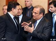 Μπαρόζο - Παπαθανασίου στη συνεδρίαση των υπουργών Οικονομικών της ευρωζώνης (09.03.09, Βρυξέλλες)