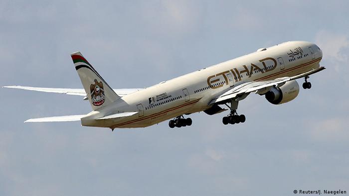 Etihad Airways Boeing 777-3FX plane takes off