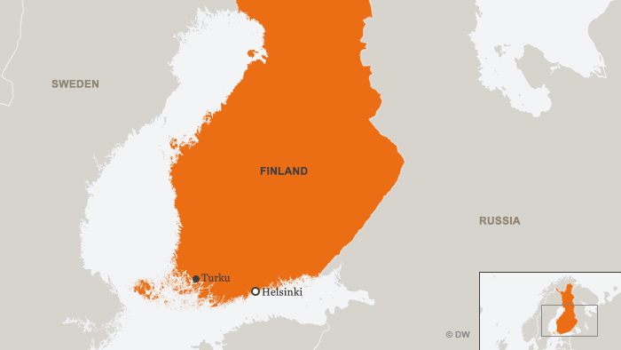 Map of Finland showing Turku, a city west of the capital Helsinki