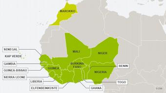 Karte ECOWAS-Staaten mit Marokko DEU