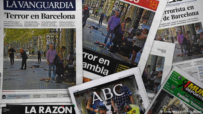 Barcelona Terror Zeitungen Presseschau (Getty Images/AFP/G. Bouys)