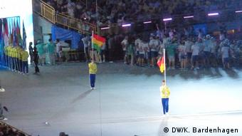 The German flag arrived, but without a team (DW/K. Bardenhagen)