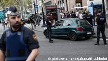 BARCELONA, SPAIN - AUGUST 19: Police officers check a suspicious car as they take security measures, during a memorial at La Rambla boulevard for the victims those who lost their lives in terror attack killing at least 13 people when a white van ploughed into a crowd in central Barcelona, on August 19, 2017, Barcelona, Spain. Burak Akbulut / Anadolu Agency |