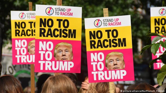 Manifestación anti-Trump frente a Embajada de EE.UU. en Londres