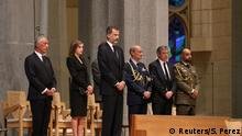 Portugese president Marcelo Rebelo de Sousa and King Felipe of Spain with his wife Letizia are seen as High mass is celebrated in the Basilica of the Sagrada Familia in memory of the victims of the van attack at Las Ramblas in Barcelona earlier this week, Spain August 20, 2017. REUTERS/Sergio Perez