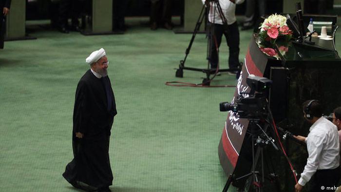 Hassan Rohani im iranischen Parlament