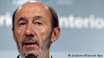 Spanish Home Affairs Minister Alfredo Perez Rubalcaba