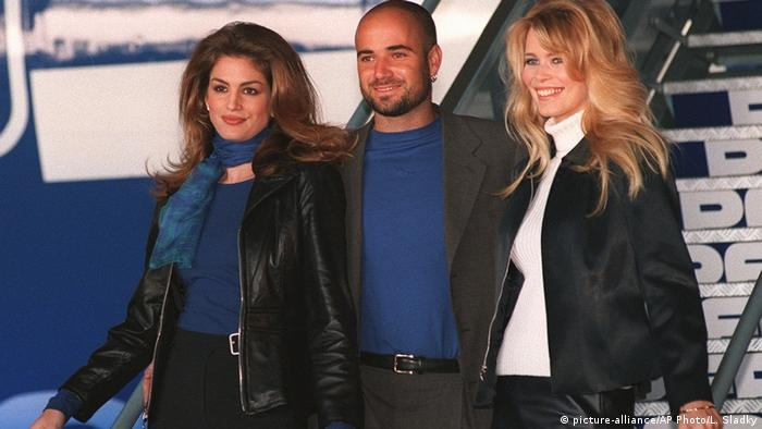 Andre Agassi with Cindy Crawford and Claudia Schiffer