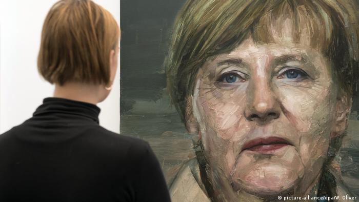 Großbritannien London Art Fair 2016 - Merkel als Malerei (picture-alliance/dpa/W. Oliver)