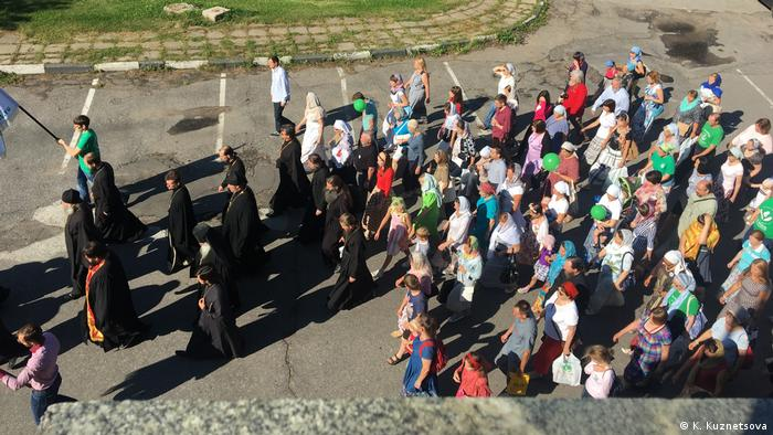 Activists from the pro-life movement For Life begin their festival in Moscow with a religious procession