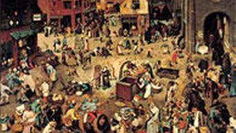 Das Gemälde 'Der Kampf zwischen Fastnacht und Fasten' von Pieter Bruegel dem Älteren. Zu sehen ist eine mittelalterliche Marktszene