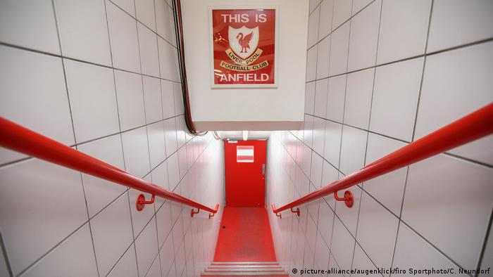 Player corridor leading to the field at Anfield Road