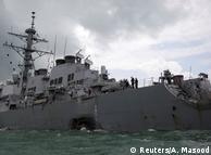 Die schwer beschädigte USS John S. McCain