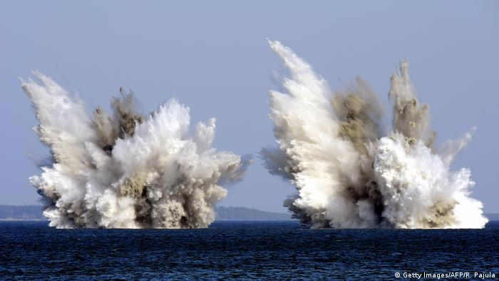 Two unexploded mines are detonated under controlled conditions in waters off Tallinn