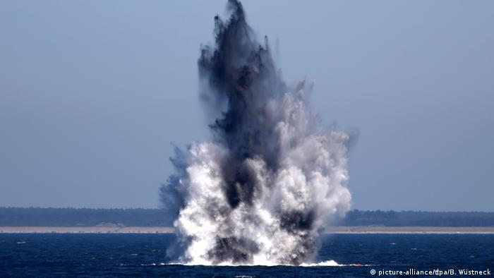 Controlled demolition of water mines off the coast of Estonia