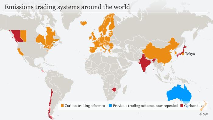 Infografik Karte Handelssysteme mit Emissionen ENG