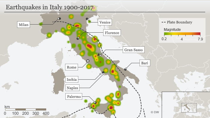 Infographic showing earthquakes in Italy from 1900-2017